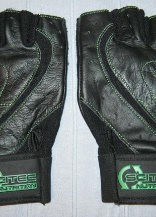Перчатки кожаные scitec nutrition green style спортивные рукавиці