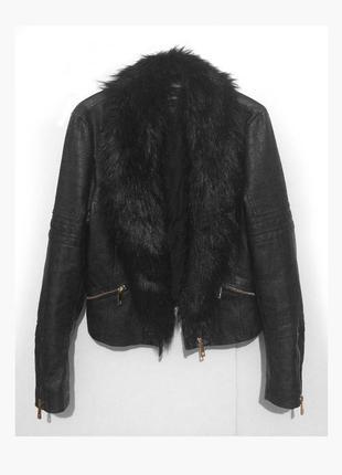Женская брендовая кожаная черная косуха короткая куртка river island с меховым воротником