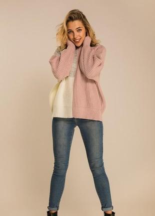 Нереальный свитер триколор крупная вязка.oversize