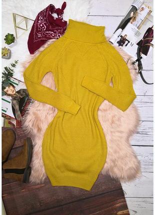 Идеальное жёлтое вязаное тёплое платье на осень