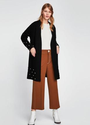 Кардиган легкое пальто с жемчугом zara