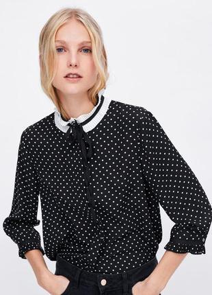Рубашка блузка в горох zara