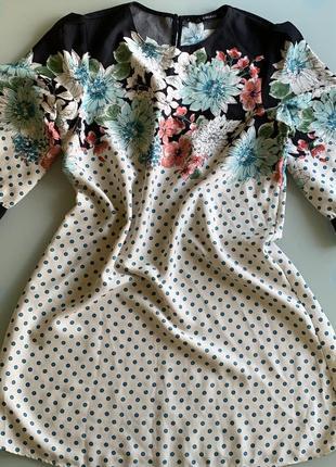 Сатиновое платье в бирюзовый горох zara