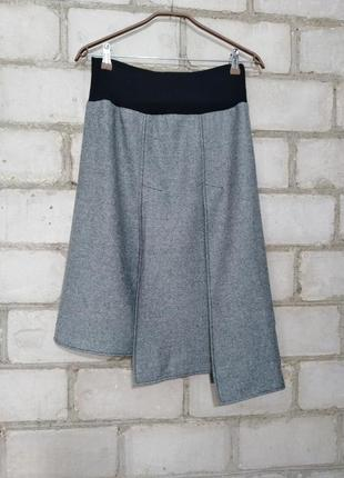 Стильная меланжевая юбка миди ассиметричного кроя шерсть высокая посадка