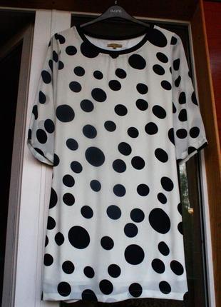 Платье, плаття, в горох, горошек, сукня, на осень, белое, черное