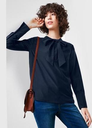 Блуза с бантом из хлопка и шелка tchibo (германия), размер евро 38 (44 евро)