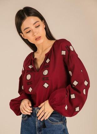 Льняная современная вышиванка блуза сорочка с вышивкой с геометрическим узором