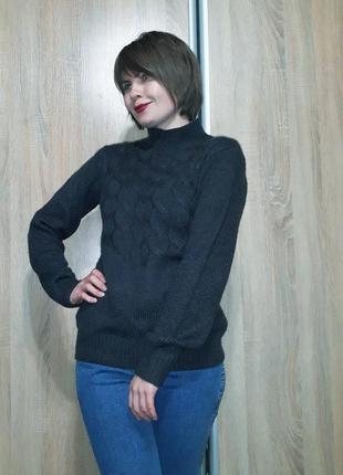 Теплый мягкий свитер с горловиной - стойкой с шерстью составе цвет графит marani