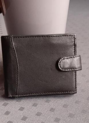 Кожаный новый черный кошелек real leather