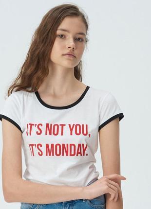Новая белая футболка sinsay it's not you, it's monday это не ты, это понедельник m l xl