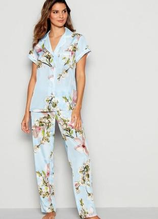 Домашний й костюм пижама вискозная пидамка в цветы рубашка штаны
