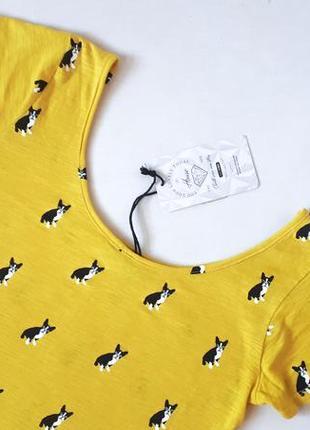 Новая желтая футболка с мопсами от house принт мопсики собачки