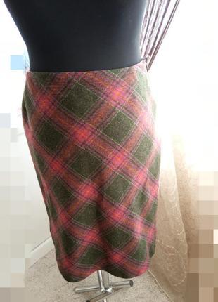 Теплая юбка, шерсть, клетка, тартан