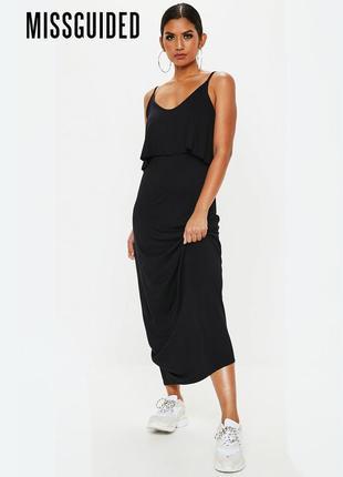 Новое черное платье в пол с оборкой на груди missguided
