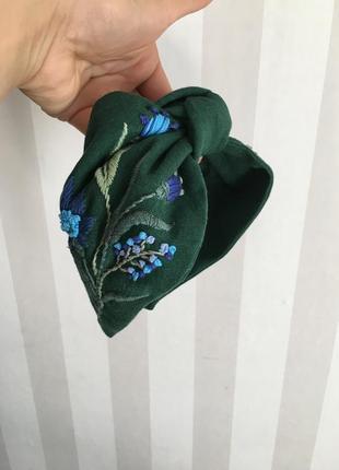 Обруч ободок повязка тюрбан с ручной вышивкой blue flowers