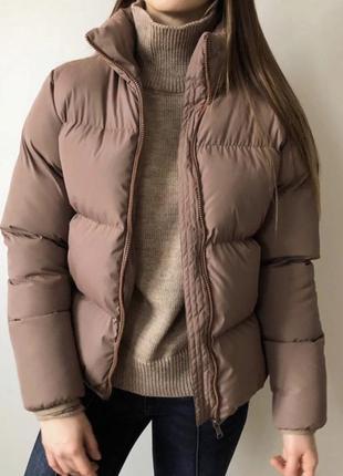 Новая бежевая, коричневая куртка дутыш, зефирка