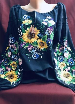 Темносиня бавовняна блуза з вишивкою вишиванка вышиванка розмір 52-54