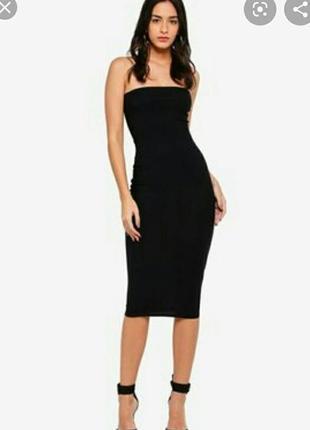 Стильное платье бандо миди длина, размер 8-10