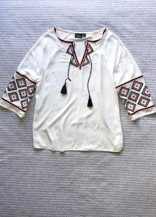 Рубашка вышиванка с завязками белая купить цена