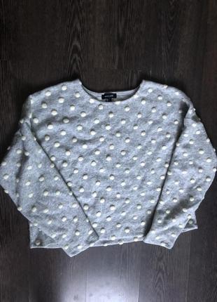 Милый теплый свитер свитшот в объемный горох