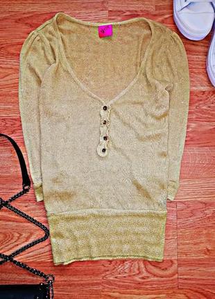 Женский золотистый вязаный топ - блуза george - размер 42-44