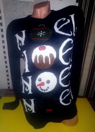 Свитер зимний на новый год со снеговиком