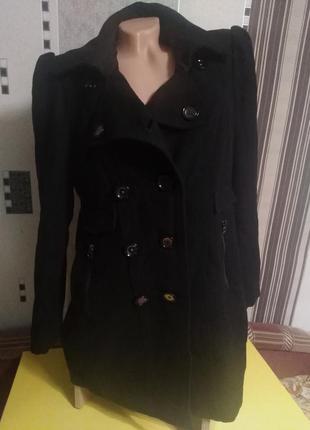 Пальто на осень драповое чёрное до колен