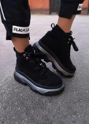 Стильные ботинки из натуральной замши lux качества чёрного цвета