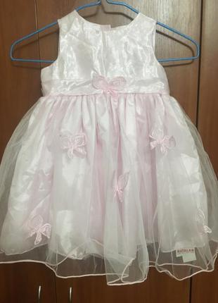 Нарядное платье с бабочками и пышной юбочкой на годик