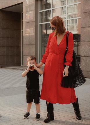 Красное платье из жаккардовой ткани h&m