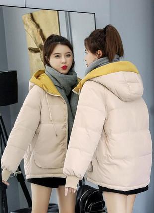 Стильный  бежевый  (нюдовая) зимний  пуховик - куртка с объёмным капюшоном