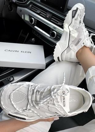 Шикарные женские кроссовки calvin klein white белые3 фото