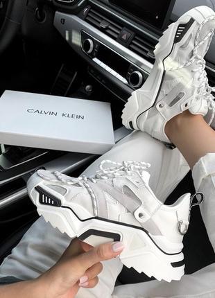 Шикарные женские кроссовки calvin klein white белые