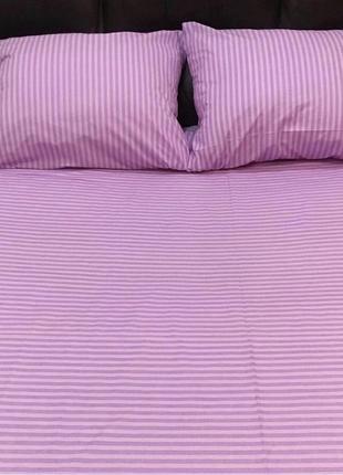 Комплект постельного белья из бязи евро в розовую полоску