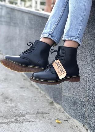 Шикарные женские осенние ботинки dr. martens 1460 black без меха {унисекс} 😍
