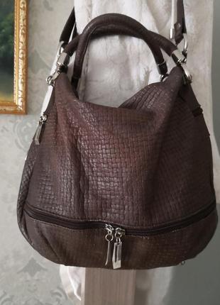 Стильная качественная кожаная сумка borse in pelle, италия