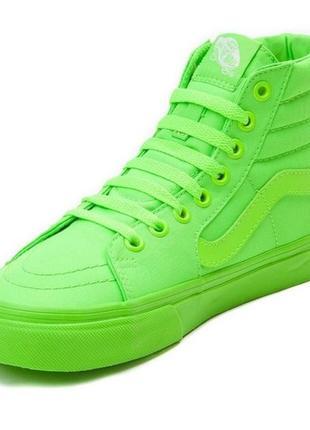 Кеды vans  sk8-hi slim neon green в стиле convers