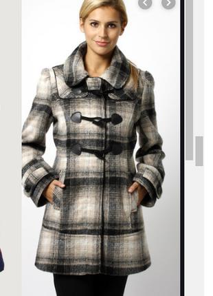 Брендовое серое демисезонное пальто дафлкот с карманами в клетку f&f вискоза