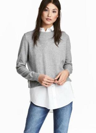 Стильная кофта, свитер с вшитой рубашкой, вещи в наличии💚+скидки, заходите💚