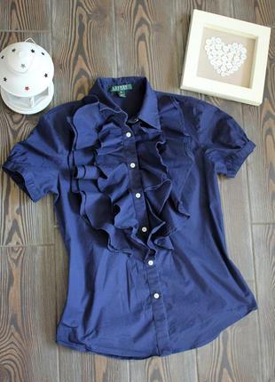 Классическая рубашка блуза с коротким рукавом и рюшами