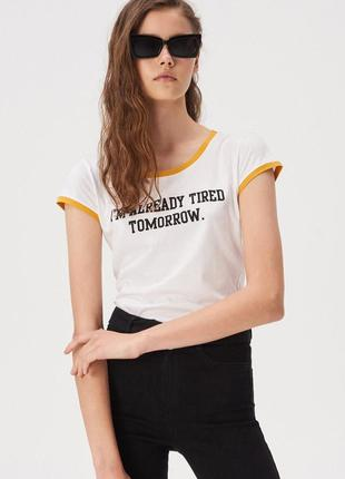 Новая белая футболка sinsay i'm tired tomorrow завтра не настало, а я уже устала xs s l xl