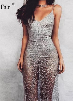 Вечернее платье серебро с боди missguided