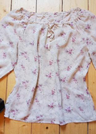 Шифоновая блуза в цветочки