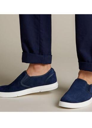 Cлипоны, туфли, мокасины clarks, p.40-40,5 кожаные, оригинал, темно-синего цвета