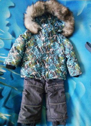 Зимний очень теплый и легкий костюм на мальчика (куртка и комбинезон, рукавички.)