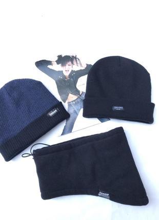 Классный набор шапка две и шарф снуд хомут на флисе