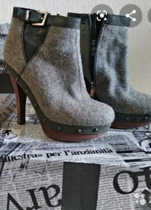Фетровые демисезонные ботильоны ботинки