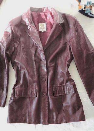Пиджак кожа натуральная,цвет гнилая вишня бордо