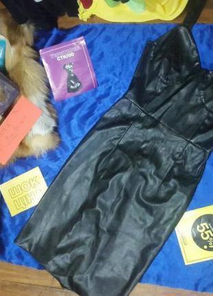 Черное платье эко кожа
