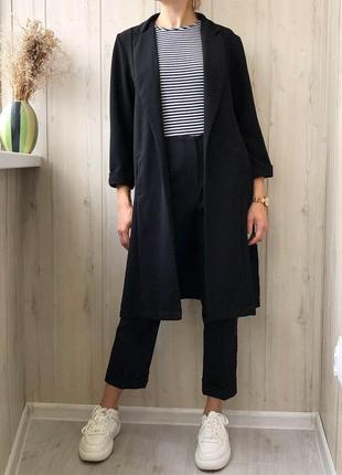 Черный длинный пиджак кардиган без застежек ♥️